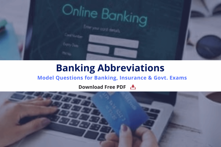 Banking Abbreviations PDF- Model Questions for Banking, Insurance & Govt. Exams