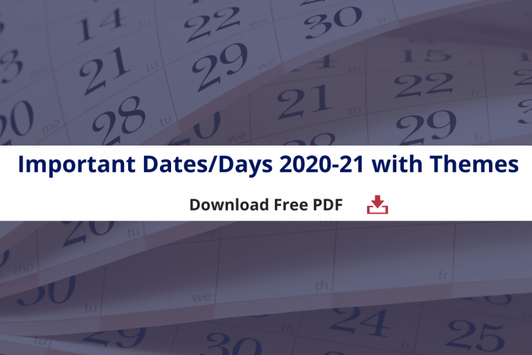 Important Days:Dates 2020-21 with Themes for Banking: SSC: RRB NTPC: Govt. Exams