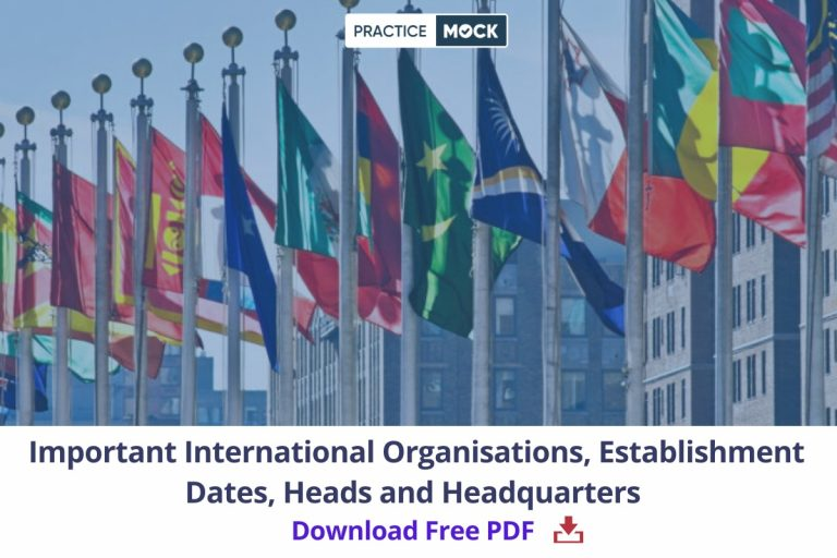 Important International Organisations' Establishment Dates, Heads and Headquarters- Download Free PDF